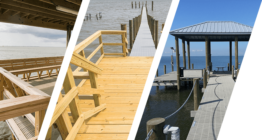 slanted images of bulkheads, piers, and boathouses